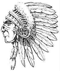 Edgewood High School mascot. Indian Chief in a full headdress